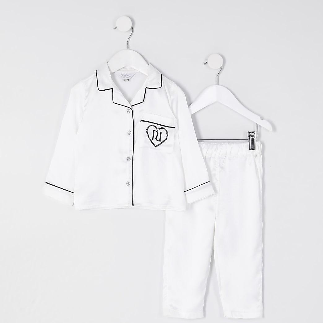 Mini girls white satin RI pyjama set