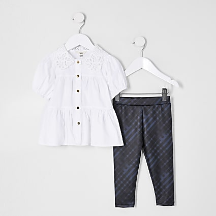 Mini girls white shirt legging outfit
