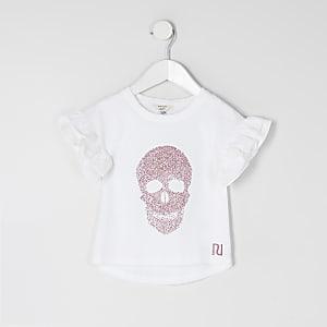 Mini – Weißes T-Shirt mit Totenkopf-Motiv aus Strass