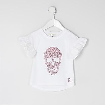 Mini girls white skull embellished T-shirt