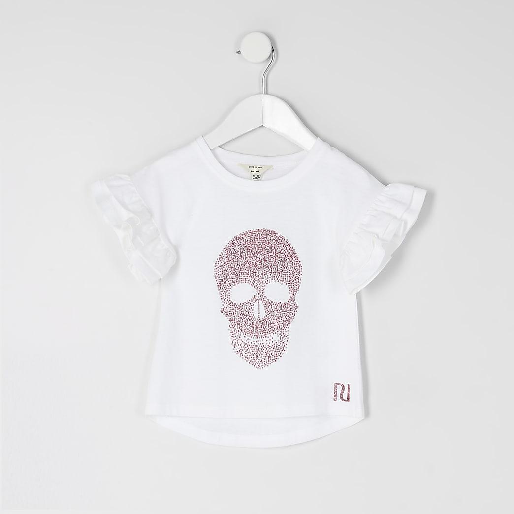 Mini - Wit T-shirt met verfraaide doodshoofdprint voor meisjes