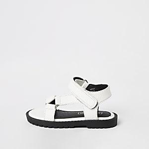 Mini - Witte sandalen met bandjes en klittebandsluiting voor meisjes