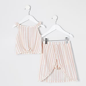 Mini - Witte gestreepte outfit met skort met ruches voor meisjes