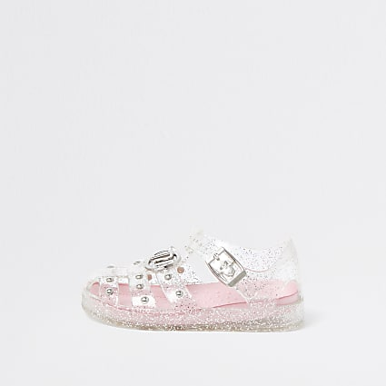 Mini girls white studded caged jelly sandals
