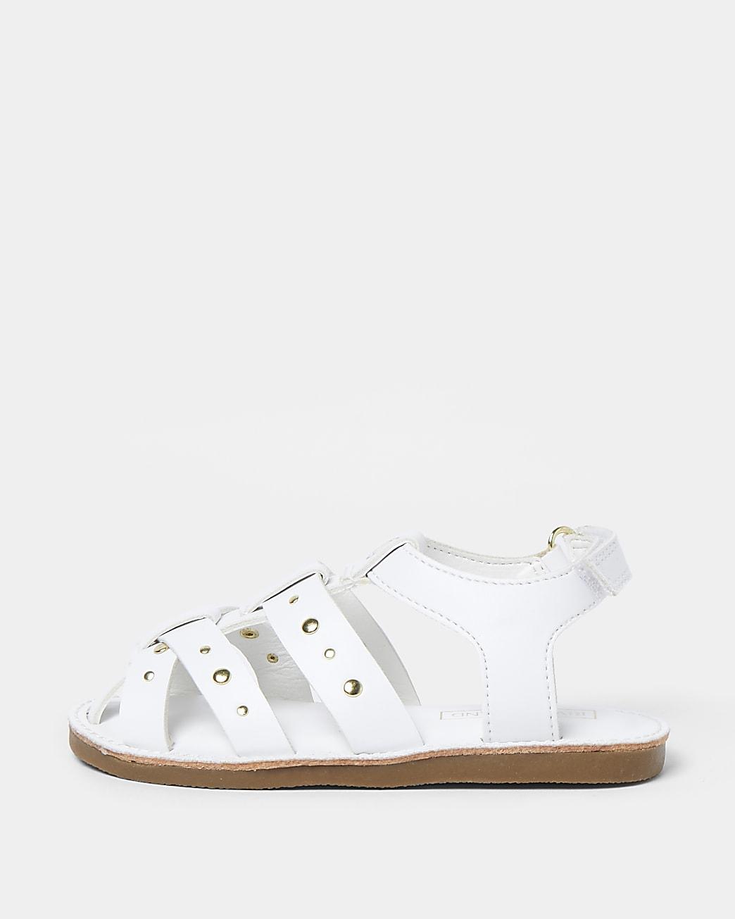 Mini girls white studded strappy sandals