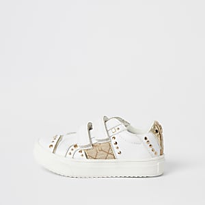 Mini girls white studded velcro trainers