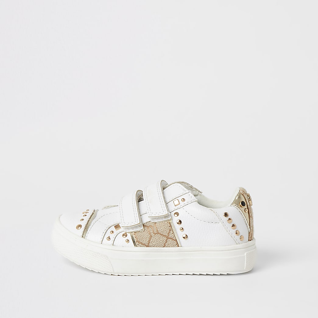 Mini - Witte sneakersmet klitteband en studs voor meisjes