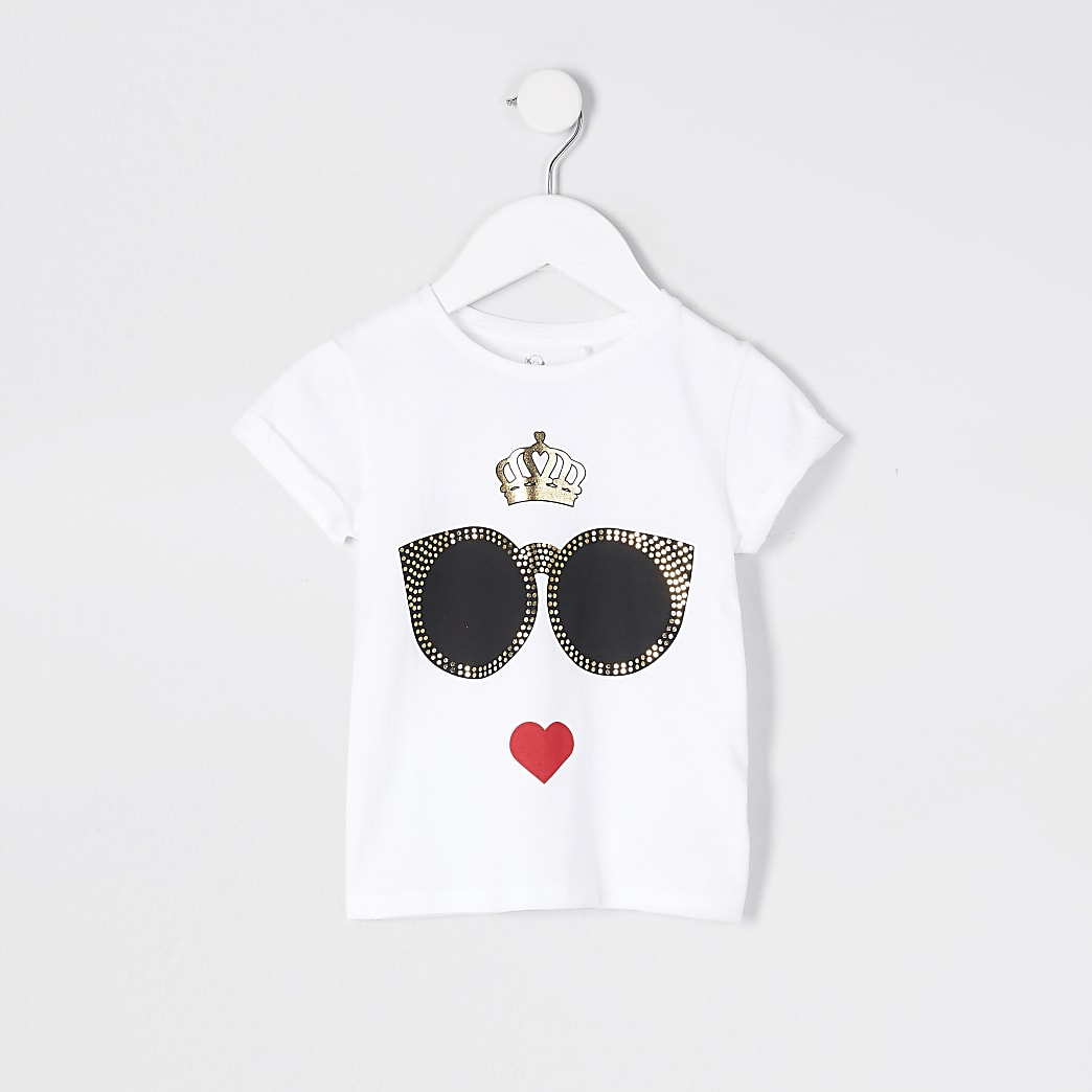 Mini girls white sunglasses print t-shirt