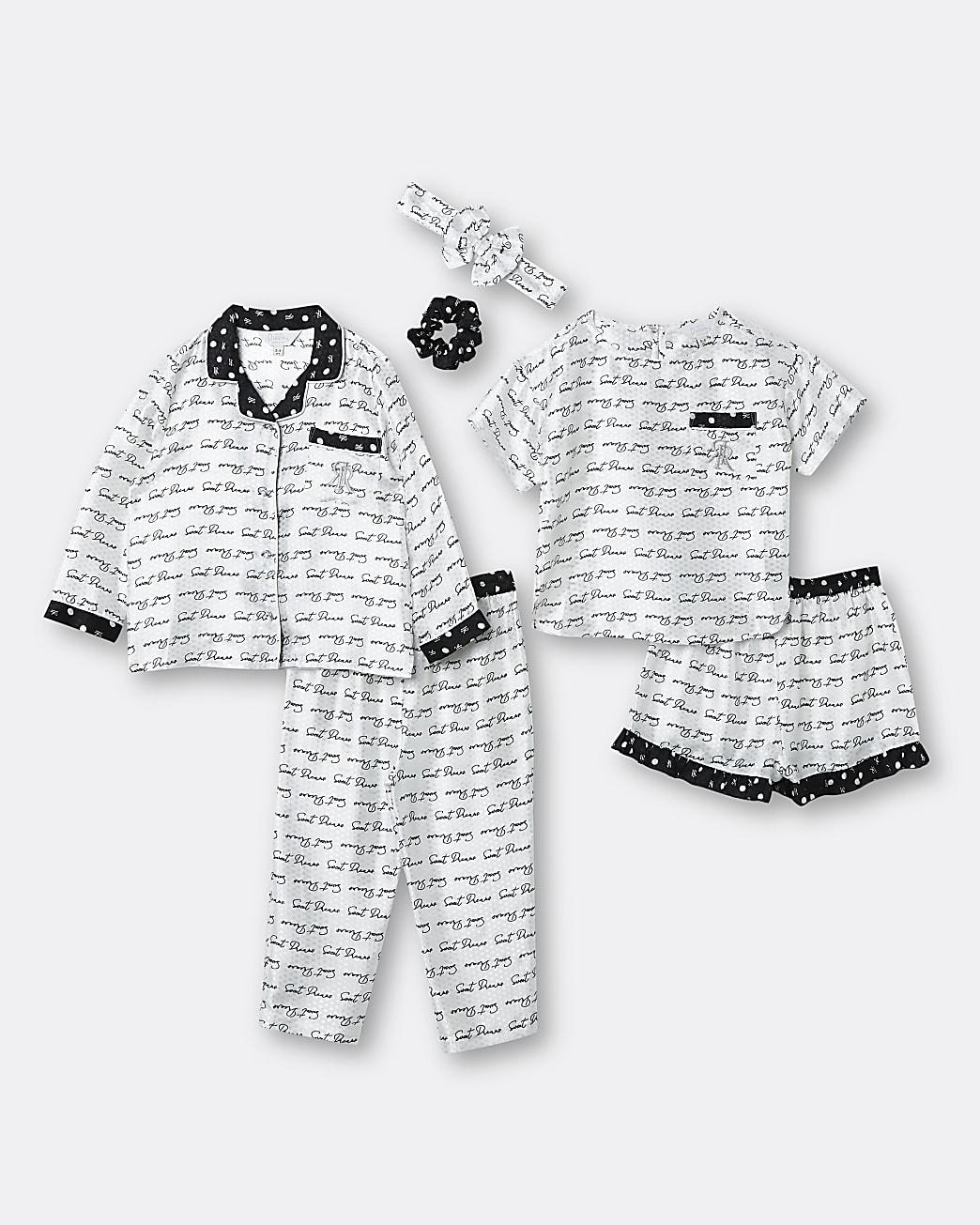 Mini girls white 'Sweet Dreams' sleepover set