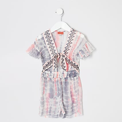 Mini girls white tie dye beach playsuit