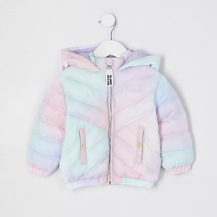 Mini girls white tie dye padded hood jacket