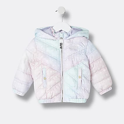 Mini girls white tie dye quilted jacket