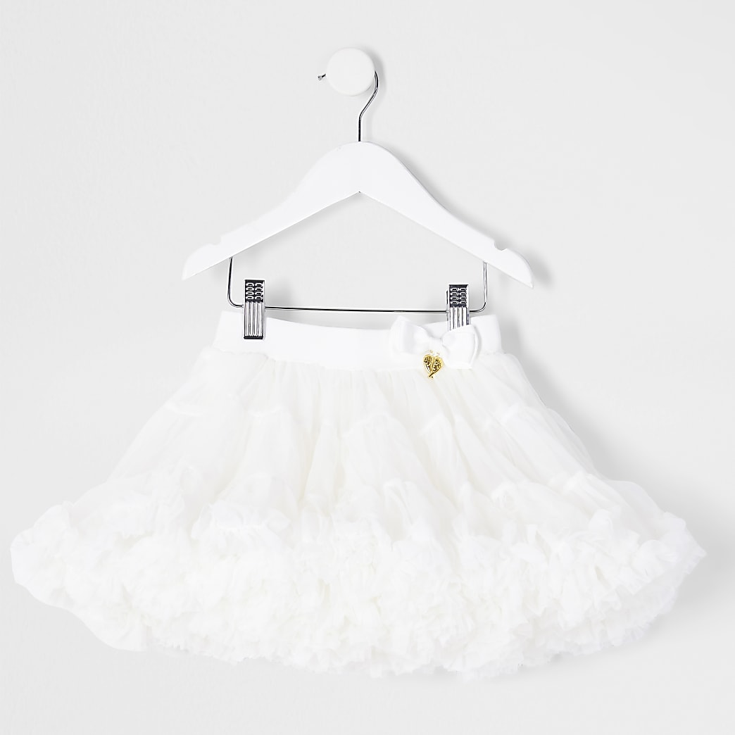 Mini girls white tutu skirt