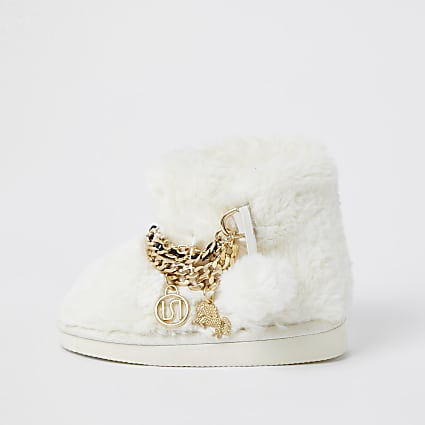 Mini girls white unicorn bootie slippers