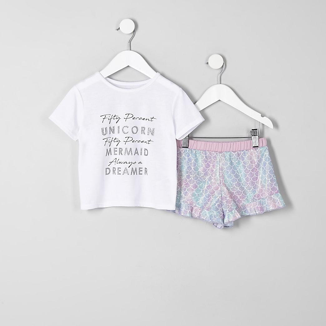 Mini - Witte pyjama met 'unicorn'-print en ruches voor meisjes