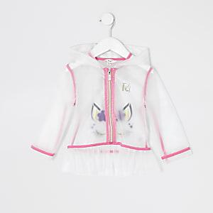 Mini – Weiße Regenjacke mit Einhorn-Print