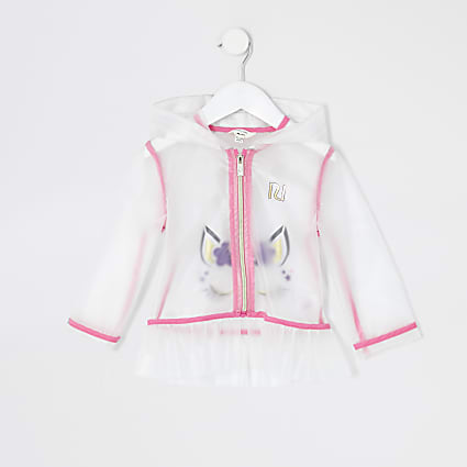 Mini girls white unicorn printed rain jacket