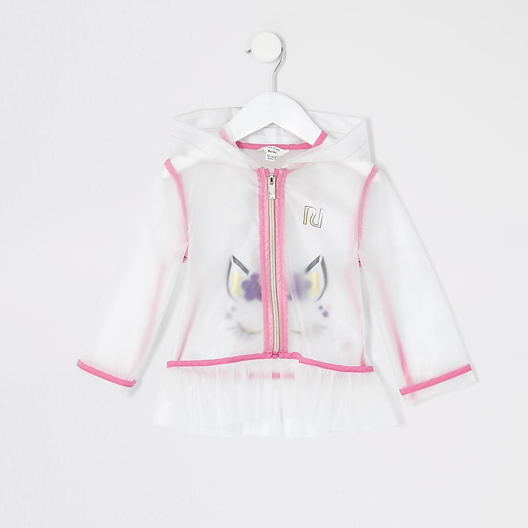 Mini - Wit regenjack met eenhoornprint voor meisjes