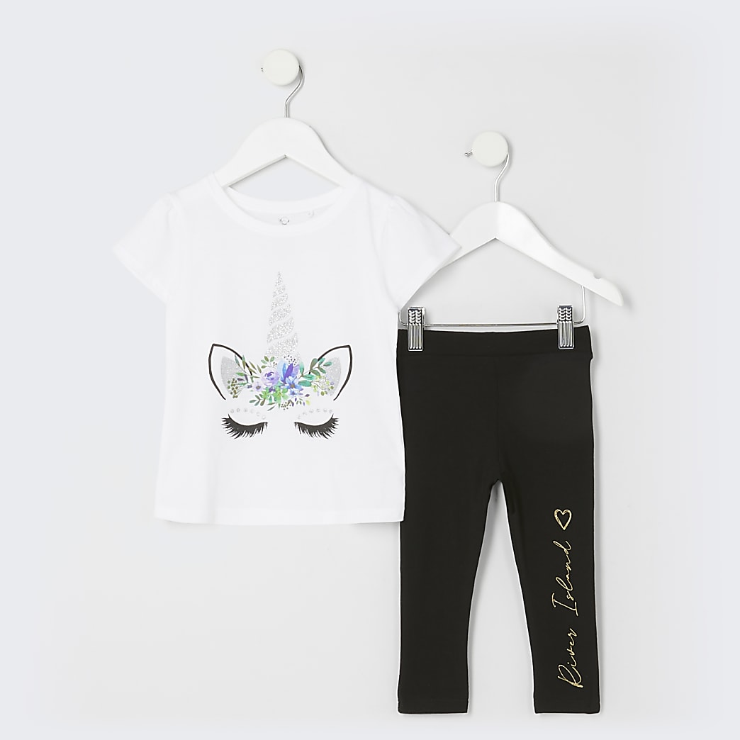 Mini girls white unicorn t-shirt outfit