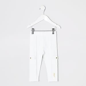 Mini – Weiße Ponte-Leggings im Utility-Stil