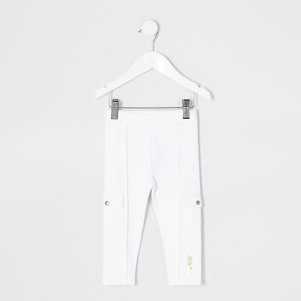 Mini - Witte utility legging van ponte-stof voor meisjes