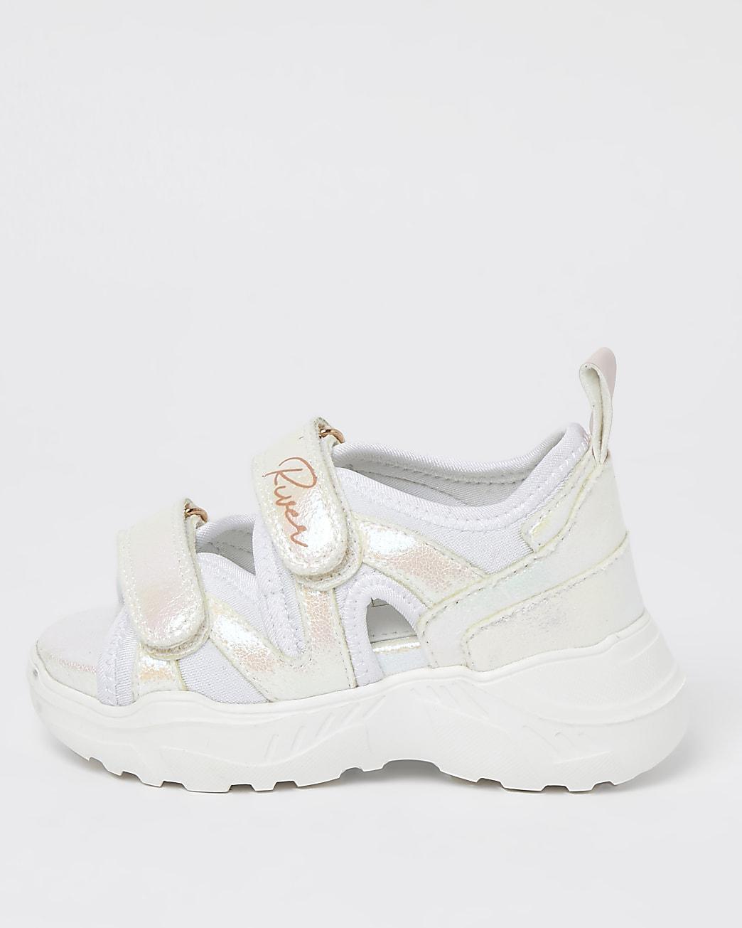 Mini girls white velcro chunky sandals