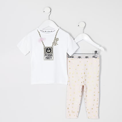 Mini girls white 'VIP' printed pyjamas