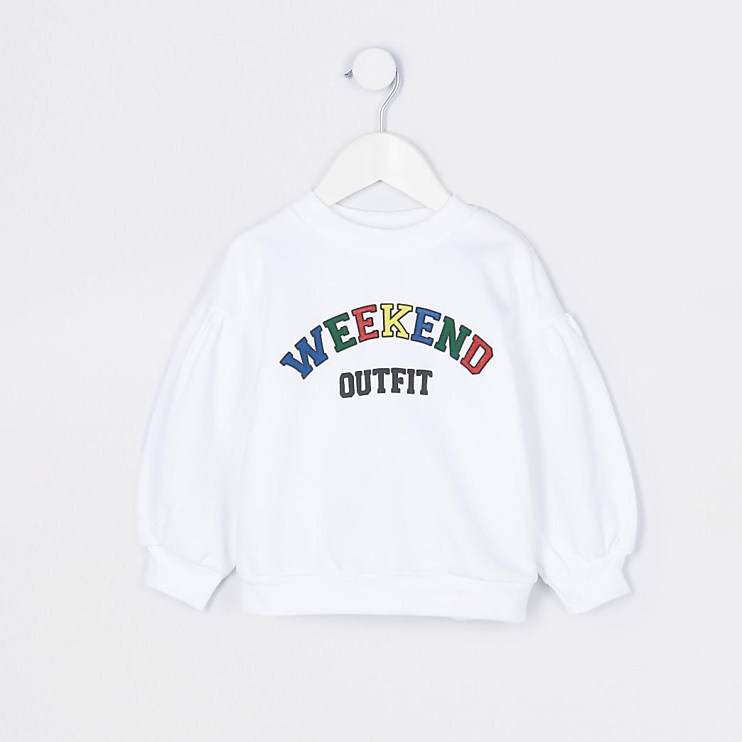 Mini girls white 'Weekend Outfit' sweatshirt