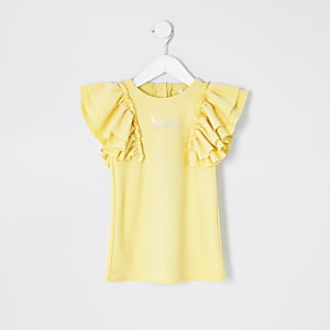 """Mini – Gelbes Oberteil """"Sassy"""" mit Rüschenärmeln für Mädchen"""