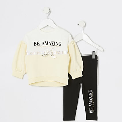 Mini girls yellow 'Be amazing' sweat outfit