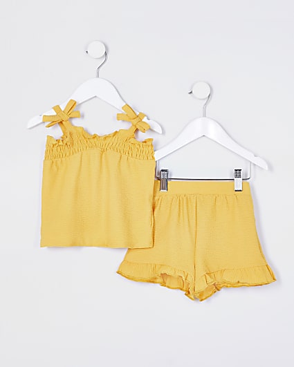 Mini girls yellow bow cami outfit