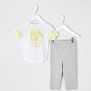 Mini – Gelbes Pyjama-Outfit mit Schleife für Mädchen