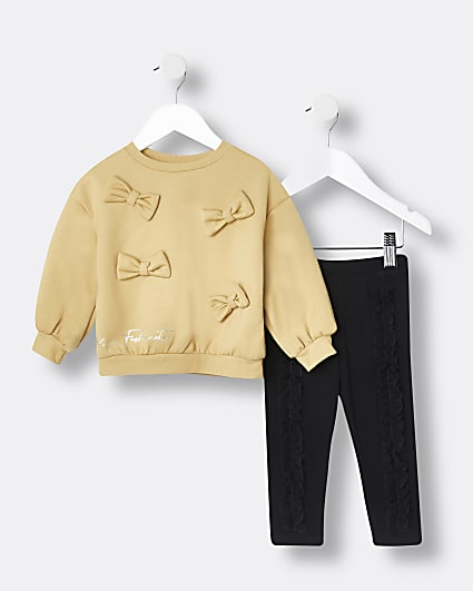 Mini girls yellow bow sweatshirt outfit
