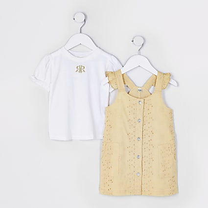 Mini girls yellow broderie pinafore dress set