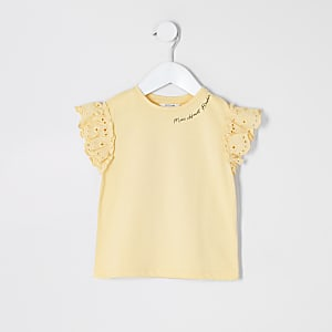 Mini girls yellow broderie sleeve T-shirt