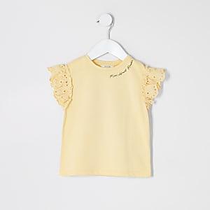 Mini – Gelbes T-Shirt mit Ärmeln mit Lochstickerei für Mädchen