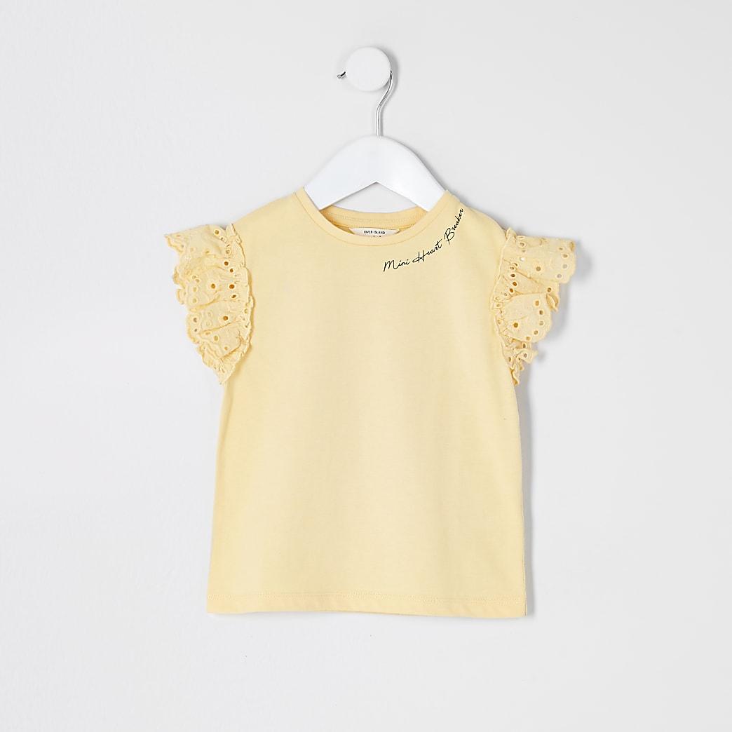 Mini girls yellow broderie sleeve T-shirt