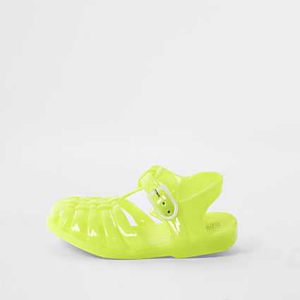 Mini girls yellow caged jelly sandals
