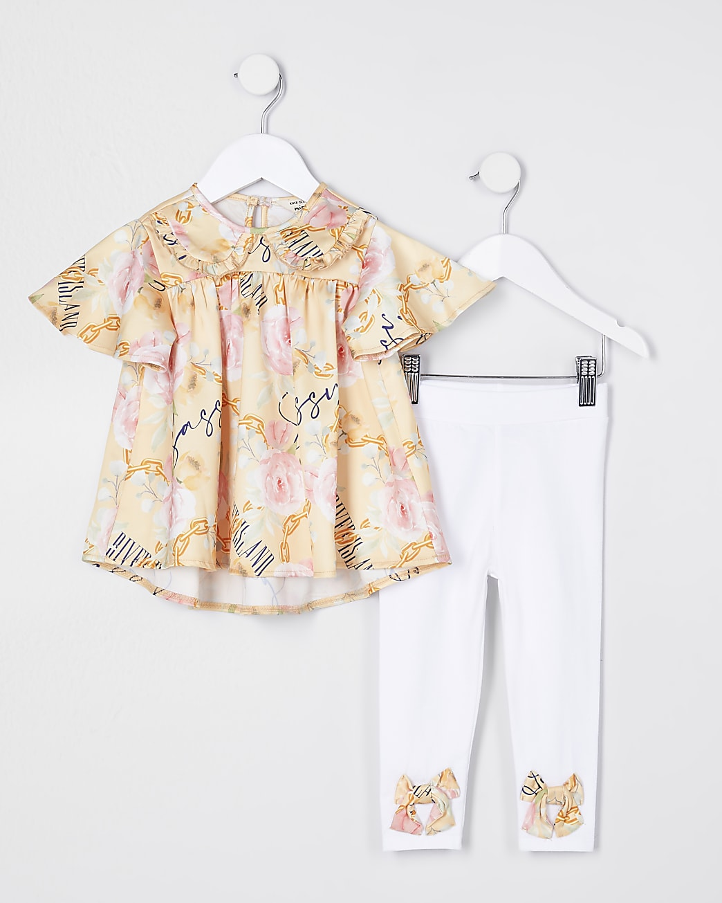 Mini girls yellow collar top and legging set