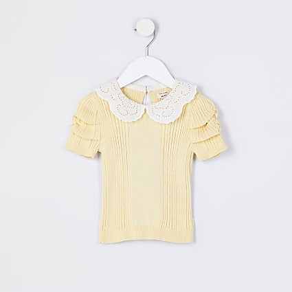 Mini girls yellow collared knitted t-shirt