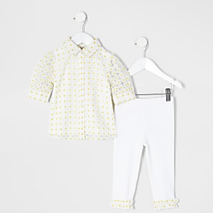Mini girls yellow daisy jacquard shirt outfit