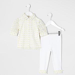 Tenue avec chemise en jacquard fleuri jaune Mini fille