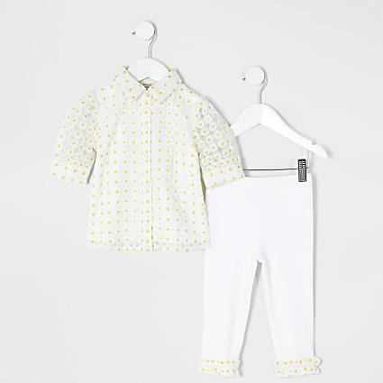 Mini girls yellow daisy jacquard shirt outfit