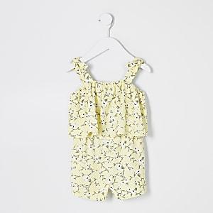 Mini - Gele playsuit met fijne print en ruches voor meisjes