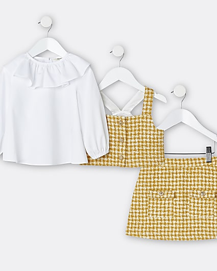 Mini girls yellow dogtooth outfit