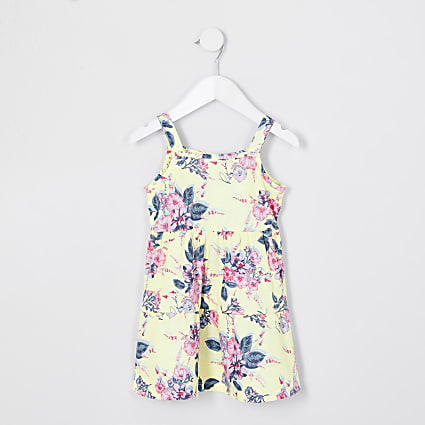 Mini girls yellow floral cami dress