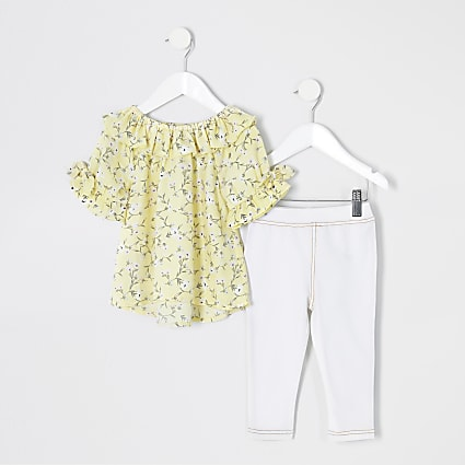 Mini girls yellow floral frill blouse outfit