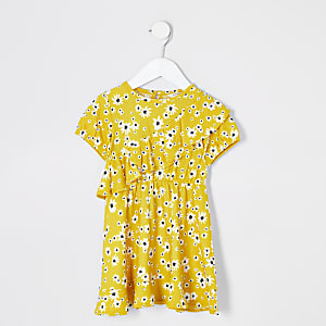Mini girls yellow floral ruffle skater dress