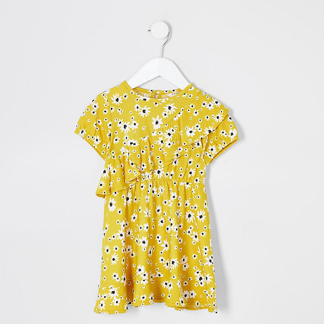Mini girls yellow floral ruffle skater dress