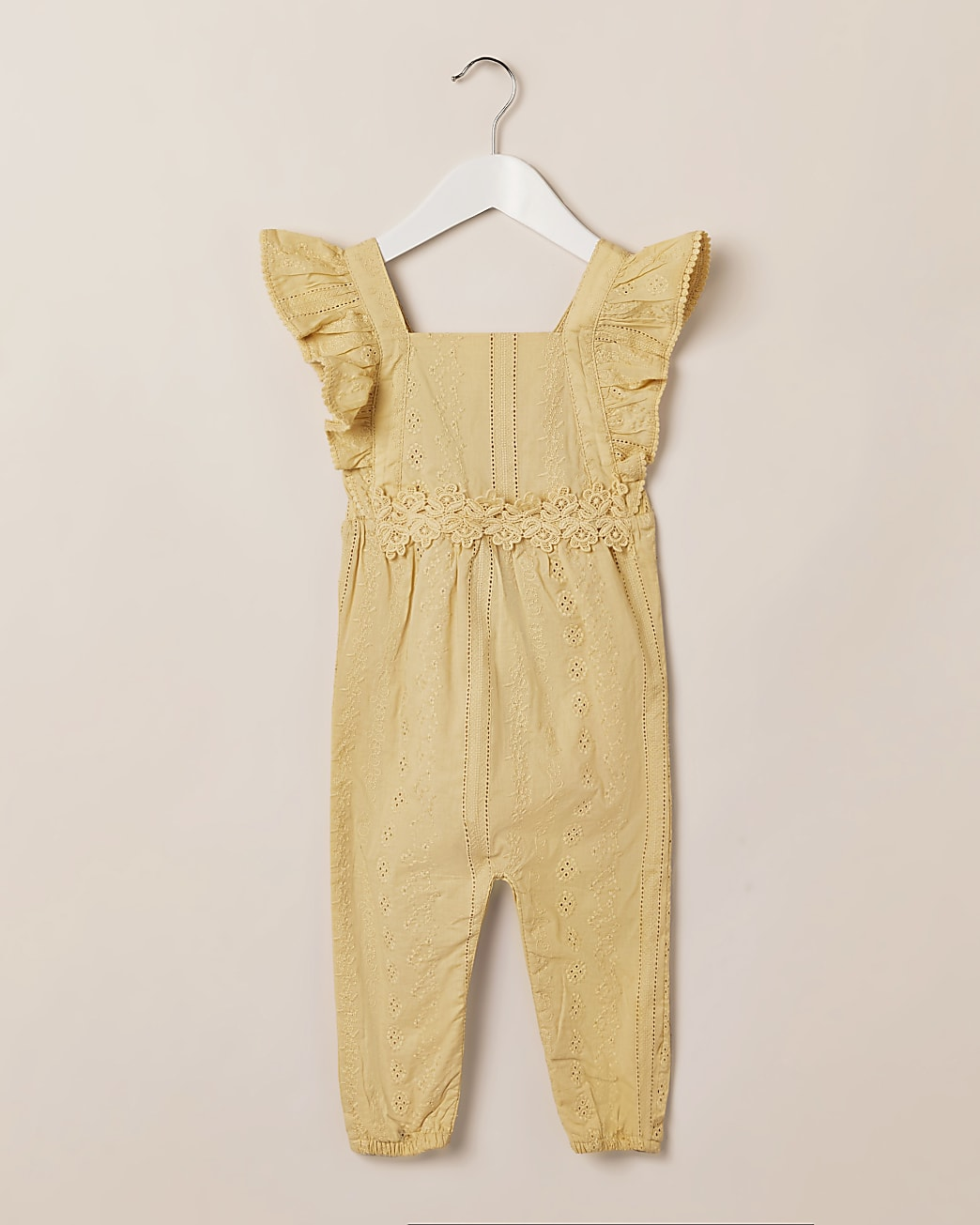 Mini girls yellow frill broderie jumpsuit